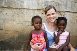 Girl with African childrenXSmall